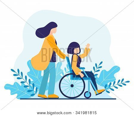 Volunteer Helping Disabled Woman. Sister Walking In Park With Girl Disabled In Wheelchair. Help Disa