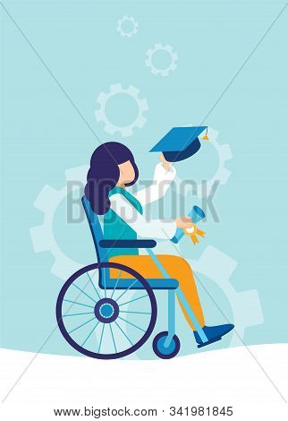 A Graduate Of A University, School In A Wheelchair. A Disabled Young Girl Receives A Masters Or Bach
