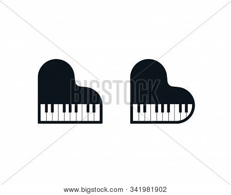 Piano Symbols In Classic And Heart Shape Forms. Musical Instruments Icons Design.