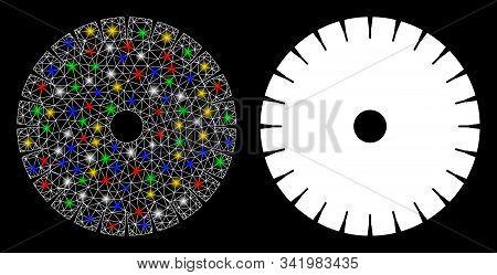 Glossy Mesh Stone Circular Blade Icon With Glare Effect. Abstract Illuminated Model Of Stone Circula