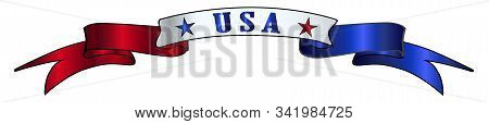 A Red White And Blue Satin Or Silk Ribbon Banner With The Text Usa And Stars