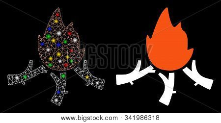 Glowing Mesh Wood Campfire Icon With Glare Effect. Abstract Illuminated Model Of Wood Campfire. Shin