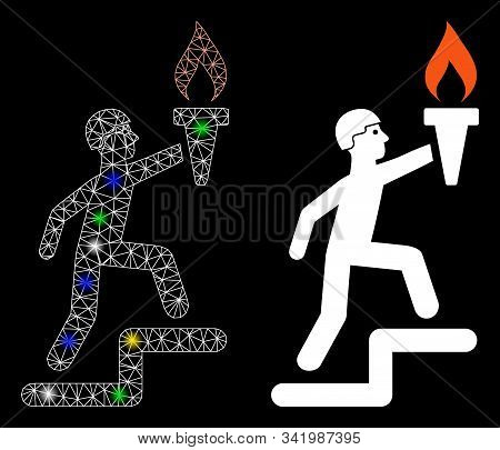 Glossy Mesh Soldier Climbing With Torch Icon With Glitter Effect. Abstract Illuminated Model Of Sold