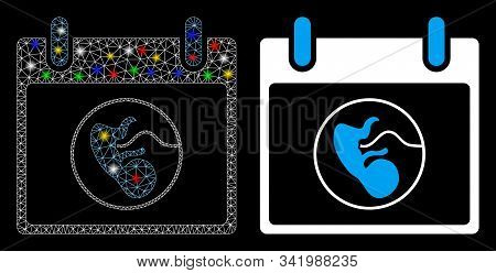 Glossy Mesh Embryo Calendar Day Icon With Glitter Effect. Abstract Illuminated Model Of Embryo Calen