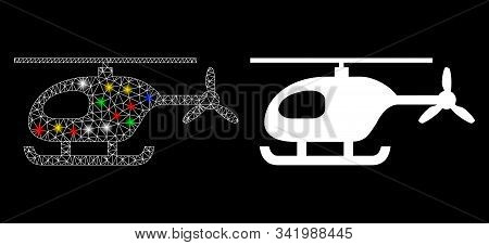 Flare Mesh Helicopter Icon With Glow Effect. Abstract Illuminated Model Of Helicopter. Shiny Wire Fr