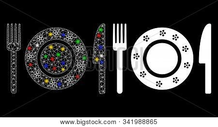 Flare Mesh Restaurant Tableware Icon With Glitter Effect. Abstract Illuminated Model Of Restaurant T