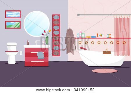 Vector Illustration Of Modern Bathroom Interior In Flat Style. Residential Rooms Design With Furnitu