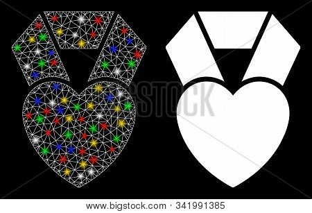 Glowing Mesh Favorite Heart Award Icon With Glow Effect. Abstract Illuminated Model Of Favorite Hear