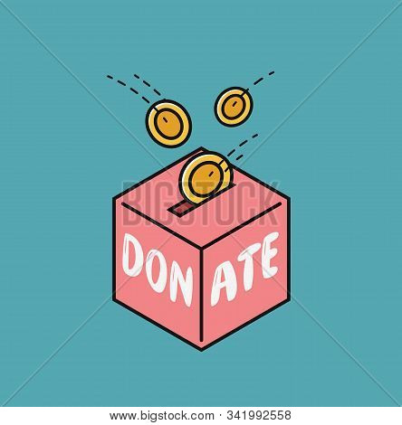 Donate, Finance Symbol. Fundraising In Donation Box Vector