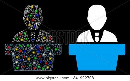 Glossy Mesh Politician Icon With Glitter Effect. Abstract Illuminated Model Of Politician. Shiny Wir