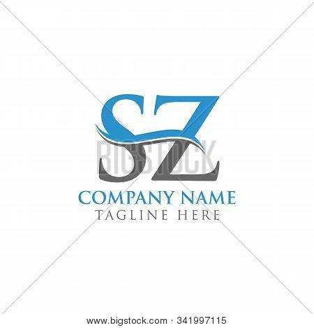 Swoosh Letter Sz Logo Design Vector Template. Water Wave Sz Logo Vector.