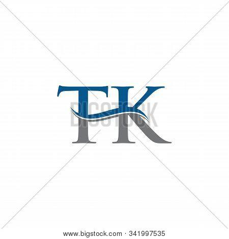 Swoosh Letter Tk Logo Design Vector Template. Water Wave Tk Logo Vector.