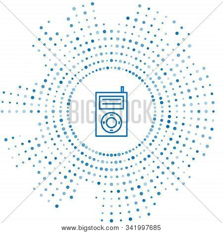 Blue Line Music Mp3 Player Icon Isolated On White Background. Portable Music Device. Abstract Circle