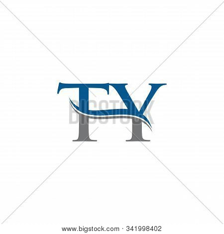 Swoosh Letter Ty Logo Design Vector Template. Water Wave Ty Logo Vector.