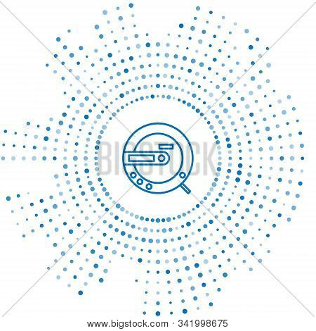 Blue Line Music Cd Player Icon Isolated On White Background. Portable Music Device. Abstract Circle