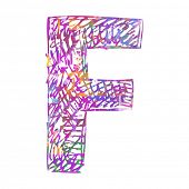 scribble ABC, childlike letter F isolated on white background poster