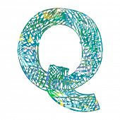 scribble ABC, childlike letter Q isolated on white background poster