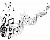 Musical notes background with lines. Vector illustration. poster