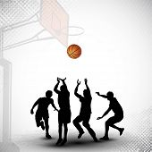 Silhouettes of a basketball players playing basket ball match on abstract grungy basketball court background. EPS 10. poster