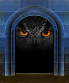 Evil eye in ancient stone gate. Horror scene with space for your text. poster