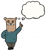 cartoon bear with thought bubble poster