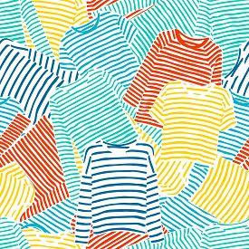 Hand Drawn Blue. Orange And Yellow Striped Longsleeve T-shirts Seamless Pattern.