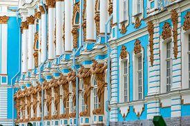 Tsarskoye Selo Palace In Pushkin City, Near Saint Petersburg Russia. Architecture And Travel In Euro