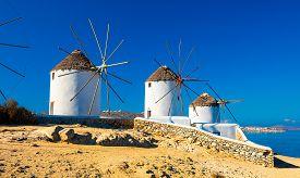 Famous Mykonos Town Windmills, Mykonos Island, Cyclades, Greece