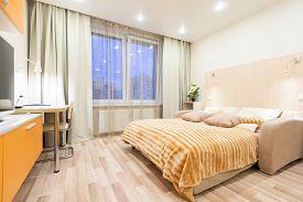 Modern Clean  Apartment Interior. Small Studio. Contemporary Room.