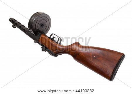 Old Russian submashine gun PPSH isolated on white poster