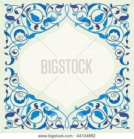 Islamic floral art - blue (EPS10)