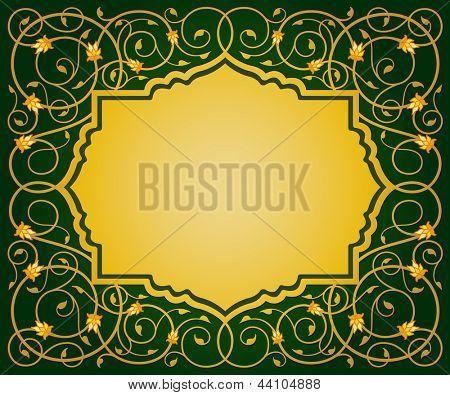 islamic elegant floral art border illustration