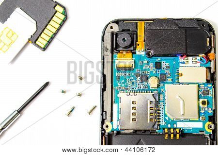Smart Phone Repair Isolated On White Background.