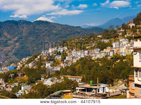 Gangtok Buildings Hillside Landscape Hill Station