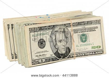 One hundred dollar bank notes isolated on white with room for your text. Money, Green Backs, Cash, Big Bucks, Bennies, Benjamins, Dollars, Legal Tender, Spare Change, Pocket Change,