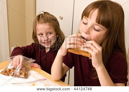 Young school girls eating lunch