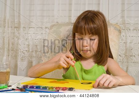 Young girl painting