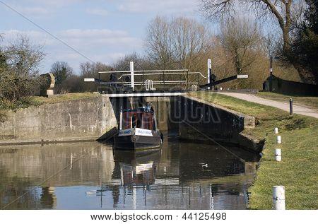 Narrow Boat at a lock