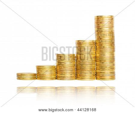 Business Chart Is Made From Golden Coins