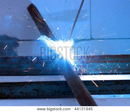 Bright electric arc and sparks