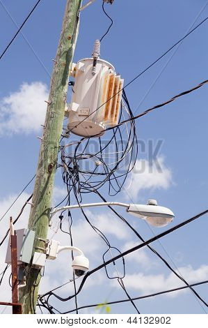 Jumble Of Wires On Power Pole