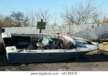 Boats cast ashore in the aftermath of Hurricane Sandy five months after storm in Brooklyn, NY