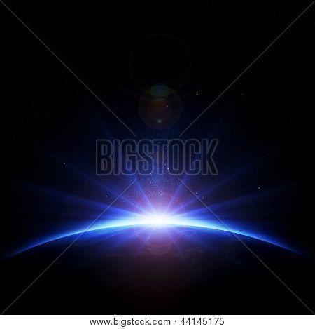 Erde - Sonnenaufgang mit Strahlen und Blendenflecke