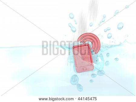 3d render of a sinked smart phone icon fallen into water