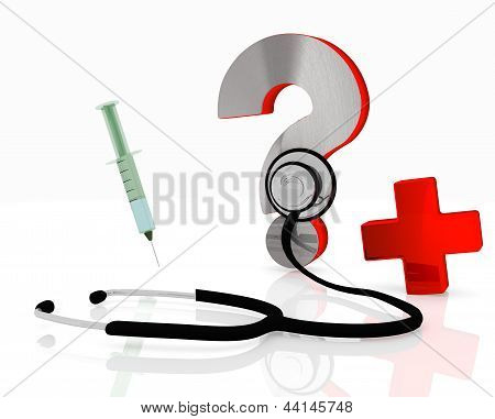 question icon with stethoscope and injection
