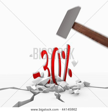 discount icon smashed with a hammer