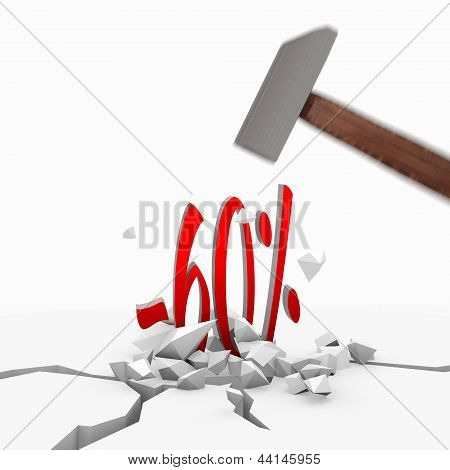 3d graphic of a unbreakable discount icon smashed with a hammer