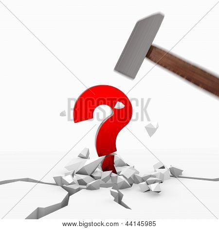3d graphic of a unresolved question icon smashed with a hammer