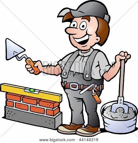 Hand-drawn Vector Illustration Of An Happy Bricklayer Handyman