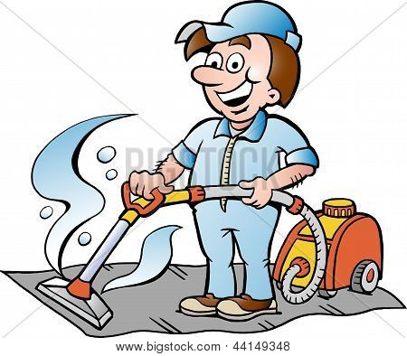Hand-drawn Vector Illustration Of A Happy Carpet Cleaner